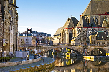 View Of Saint Michael Bridge Over Leie River In Belgium