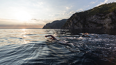 The Swimmers Swimming In The Mediterranean Sea During Sunset