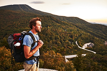 A Man Hikes Along The Appalachian Trail