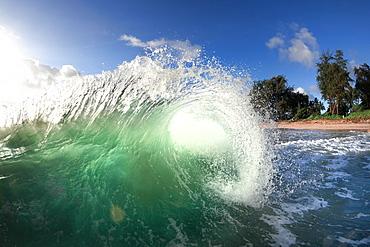 An Ocean Wave Approaching Shore On Oahu's East Side