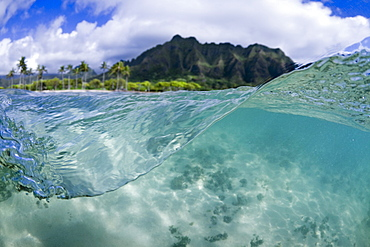 A Split Level Water View Of Kualoa Ridge On Oahu's East Side