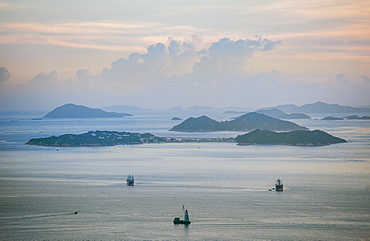 View Of Cargo Ships Of The Coast Of Hong Kong