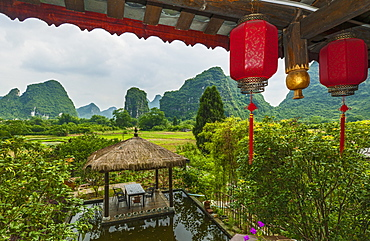 Red Lanterns Hanging In Yangshuo