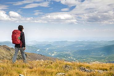 Female Hiker Exploring Mount Evans Towards Lincoln Lake In Colorado, Usa