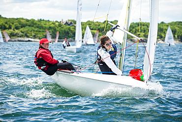 Junior Sailors Competing As Part Of A Regatta On Narragansett Bay