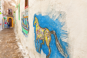 Painted Artwork In A Laneway In Essaouira, Morocco
