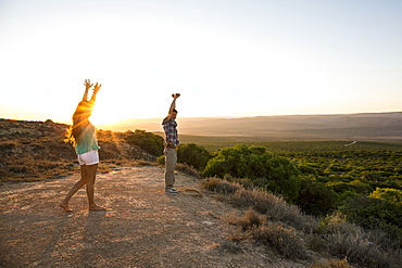 Man And Woman Stretching At Addo Elephant National Park In South Africa