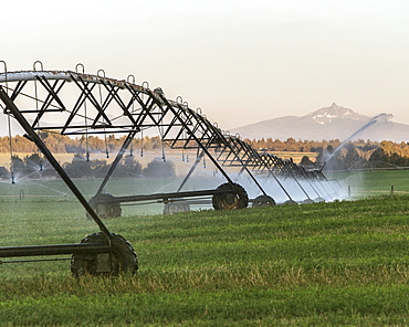 Irrigation sprinklers on farm land in the state of Washington