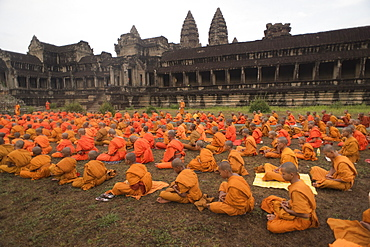 Large Group Of Buddhist Monks During The Celebration At The Angkor Wat Temple, Siem Reap, Cambodia