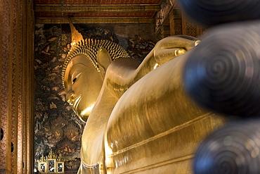 Reclining Buddha At Wat Pho Temple In Bangkok, Thailand