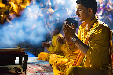 The faithful perform Ganga Aarti at the Parmarth Niketan Ashram in Rishikesh, Uttarakhand, India