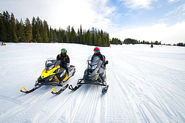 Snowmobiling The Mountains Of Vail, Colorado