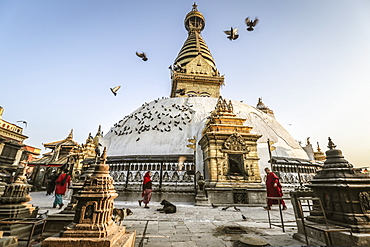 Pilgrims And Pigeons At Swayambhunath On A Crisp Fall Morning