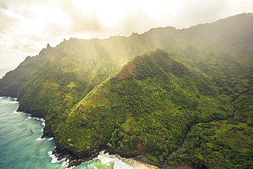 Ocean Mist And Clouds Sit In The Mountains Of Kauai, Hawaii