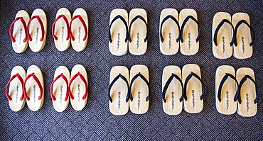 Traditional Japanese Sandal Arranged In A Row