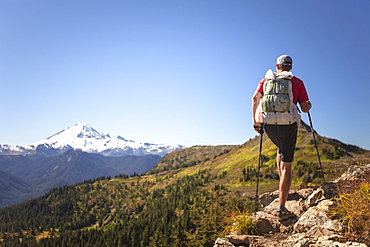 Male Hiker In North Cascades National Park With The View Of Mount Baker