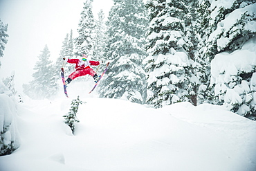 Santa Jumps An Evergreen While Skiing In Utah