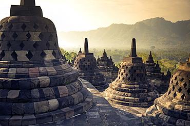 Ruins Of The Borobudur Temple In Yogyakarta, Java Island, Indonesia