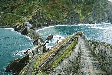 Walkway To Island Of San Juan De Gaztelugatxe From Hilltop Of Island