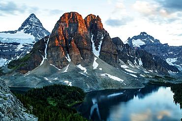 Mt Assiniboine, and Starburst lake, sunrise