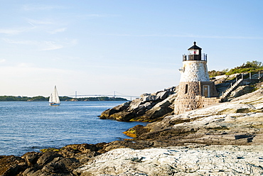 Castle Hill Lighthouse on the rock guarding Newport Harbor