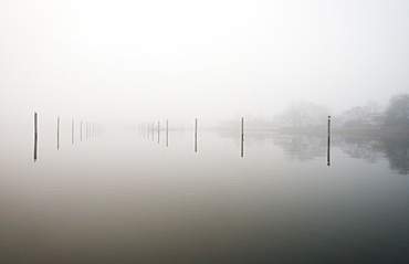 A foggy morning in a quiet wintery Wickford Harbor