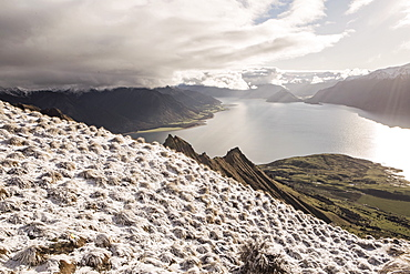 Lake Hawea With Snow Over The Mountain, New Zealand