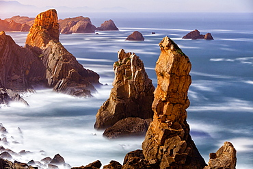 Rock Formation On Costa Quebrada During Sunrise In Cantabria, Spain