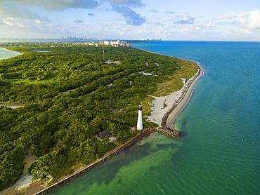 Cape Florida Lighthouse At Key Biscayne, Florida, Usa