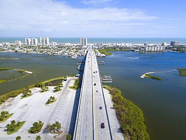 Aerial View Of A Bridge Through Port Orange, Florida, Usa