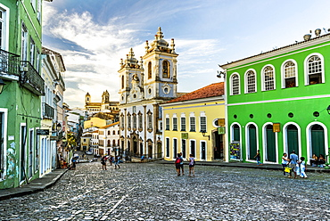 Pelourinho district in the old historic downtown of Salvador, Bahia, Brazil