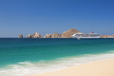 Cruise Ship At Medano Beach In Cabos San Lucas, Baja California Peninsula, Mexico