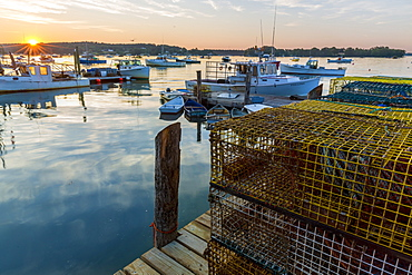 Dawn Breaks On The Wharf At The Friendship Lobster Co-op In Friendship, Maine