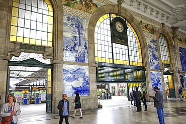 Tile panels in the vestibule of Sao Bento Station, Porto, Portugal