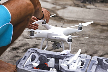 Man playing with drone