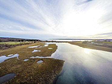 Marsh drone aerial at dusk in (Drone)