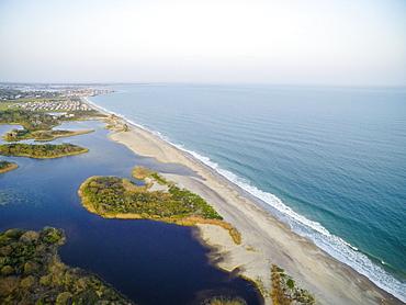 Aerial drone view of Rhode Island beach shoreline (Drone)