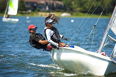 Teenagers sailing in Rhode Island