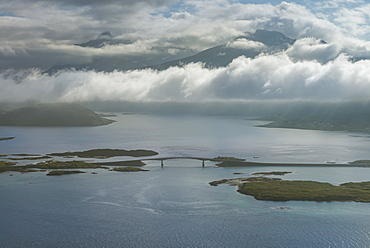 Cloudy sky over Fredvang bridge as seen from Nubben, Ramberg, Flakstadøy, Lofoten Islands, Norway