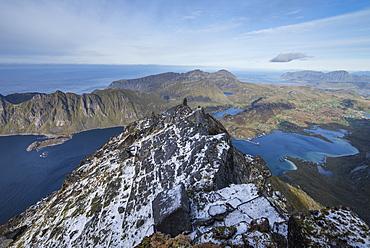 Summit ridge of ÿsthimmeltind, VestvÂg¯y, Lofoten Islands, Norway