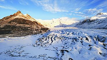 Svínafellsjökull Glacier from terminal moraine hills, Skaftafell region, Iceland.