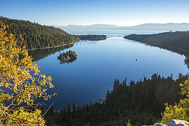 Stunning still waters of Emerald Bay, Lake Tahoe.