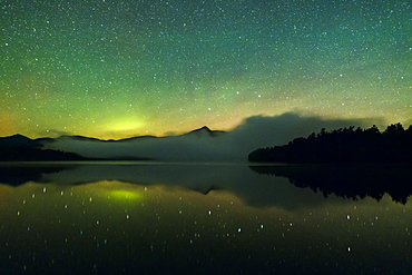 The Northern Lights over Mt. Chocorua and Chocorua Lake in New Hampshire.