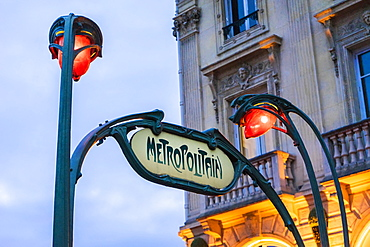 Sign for Metropolitain and street lamps in Saint Michel neighborhood, Paris, France