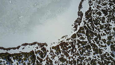 aerial view of pond and surrounding wetlands in winter.