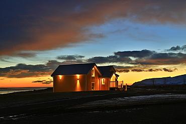 House on the farm Hali in twilight, Iceland