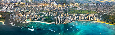 A view of Waikiki in Honolulu, from high up in a passenger plane.