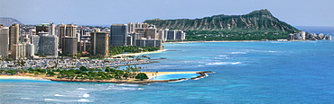 A helicopter view of the Honolilu shoreline from Magic island to Diamond head.