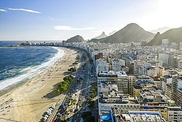 Aerial view to Copacabana Beach in Rio de Janeiro, Brazil
