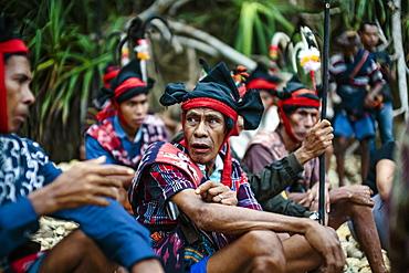 Men participating in ceremony before Pasola festival, Sumba Island, Indonesia